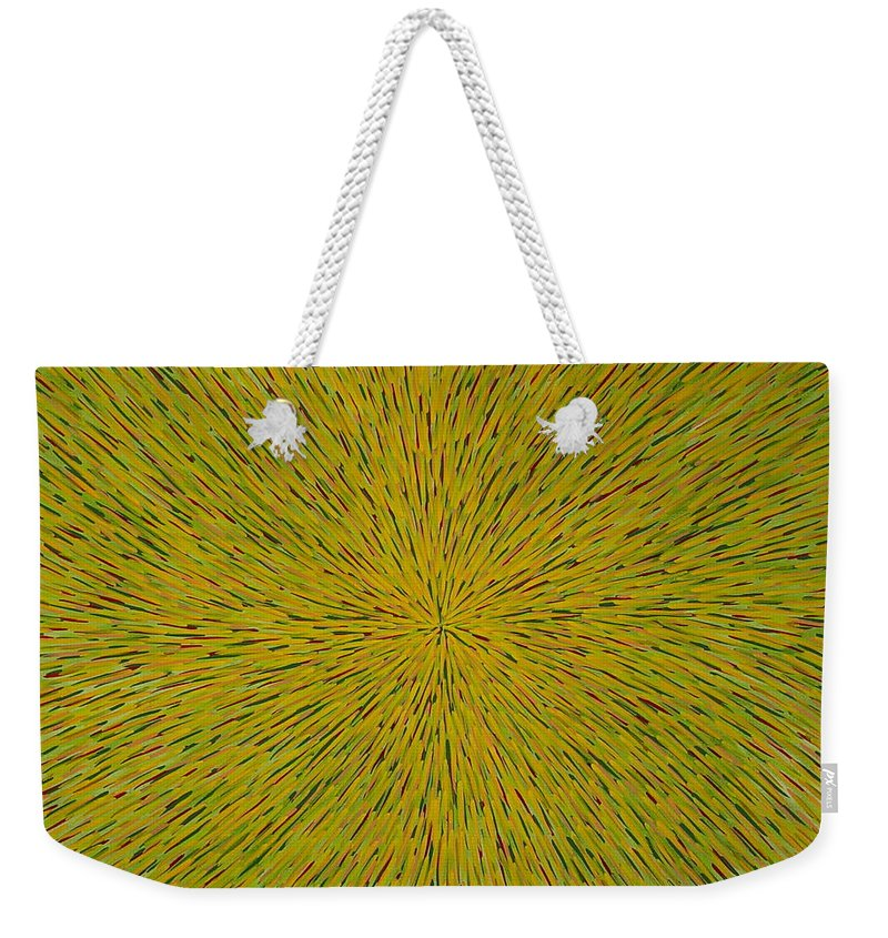 Abstract Weekender Tote Bag featuring the painting Radiation With Yellow Green And Red by Dean Triolo