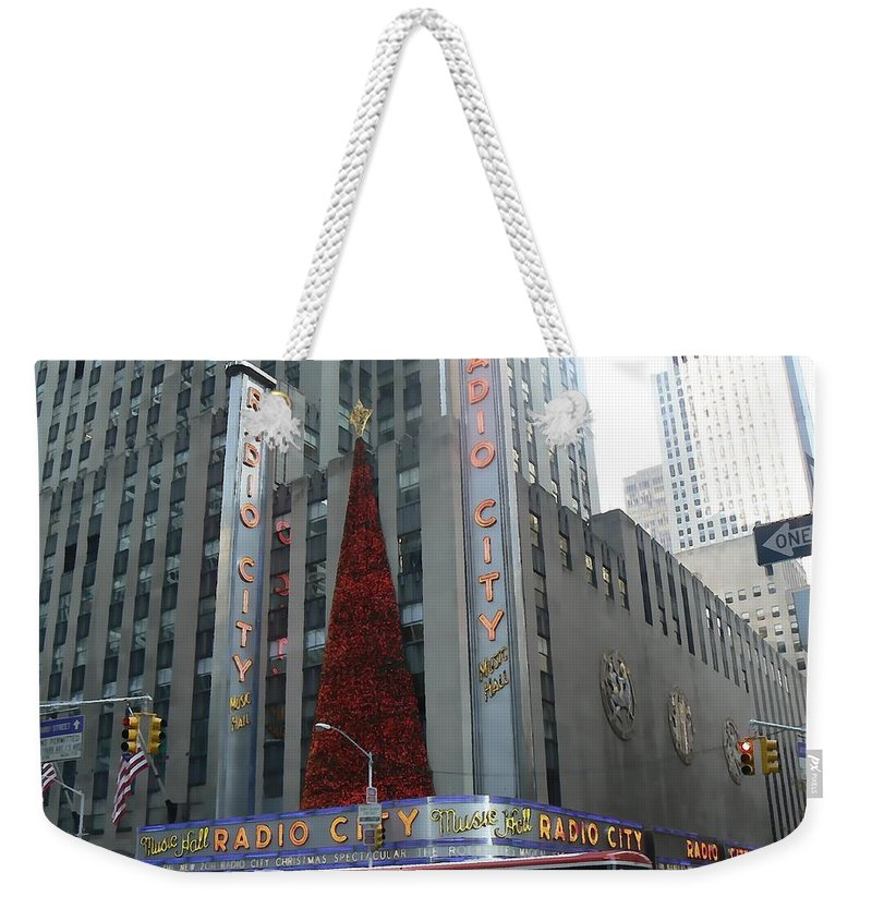 Christmas Weekender Tote Bag featuring the photograph Radio City At Christmas by Michael Porchik