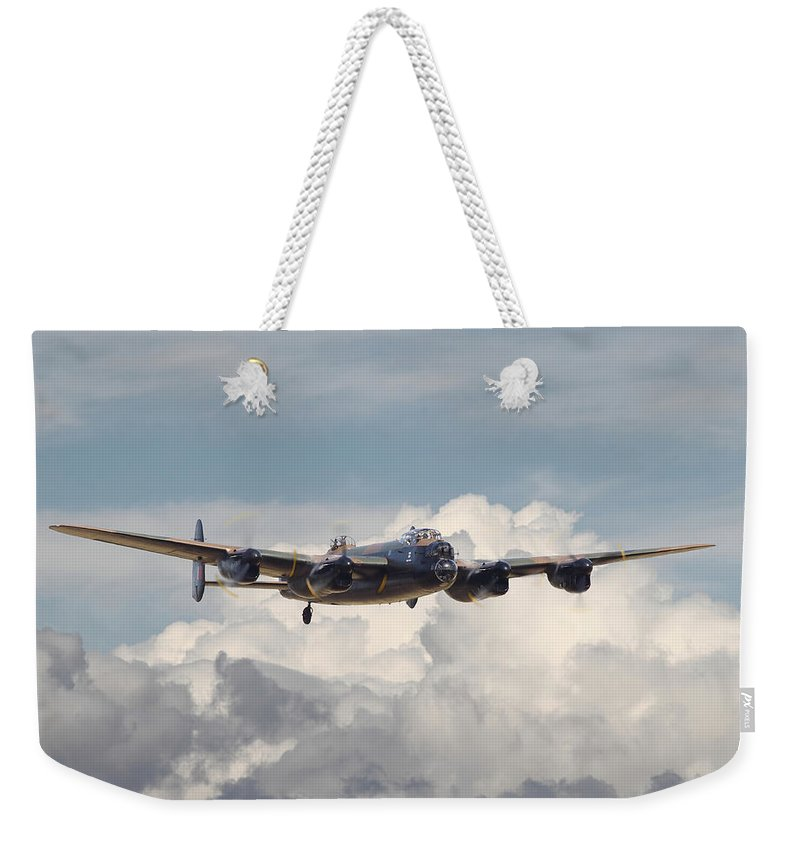 Aircraft Weekender Tote Bag featuring the digital art Raf Lancaster by Pat Speirs