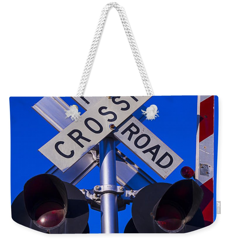 Railroad Weekender Tote Bag featuring the photograph Railroad Crossing by Garry Gay