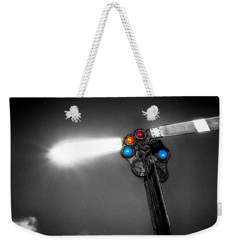 Trains Weekender Tote Bag featuring the photograph Railroad Signal by Bob Orsillo