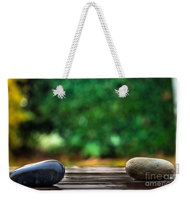 Green Weekender Tote Bag featuring the photograph Rain Again by Edgar Laureano