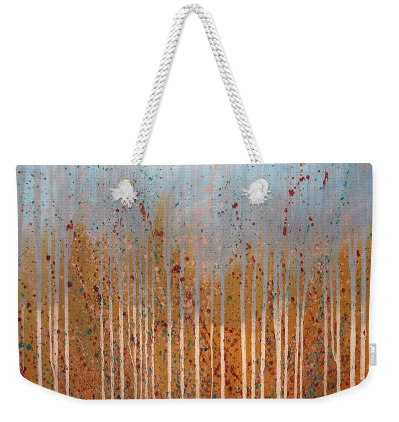 Landscape Weekender Tote Bag featuring the painting Rain by Sergey Bezhinets