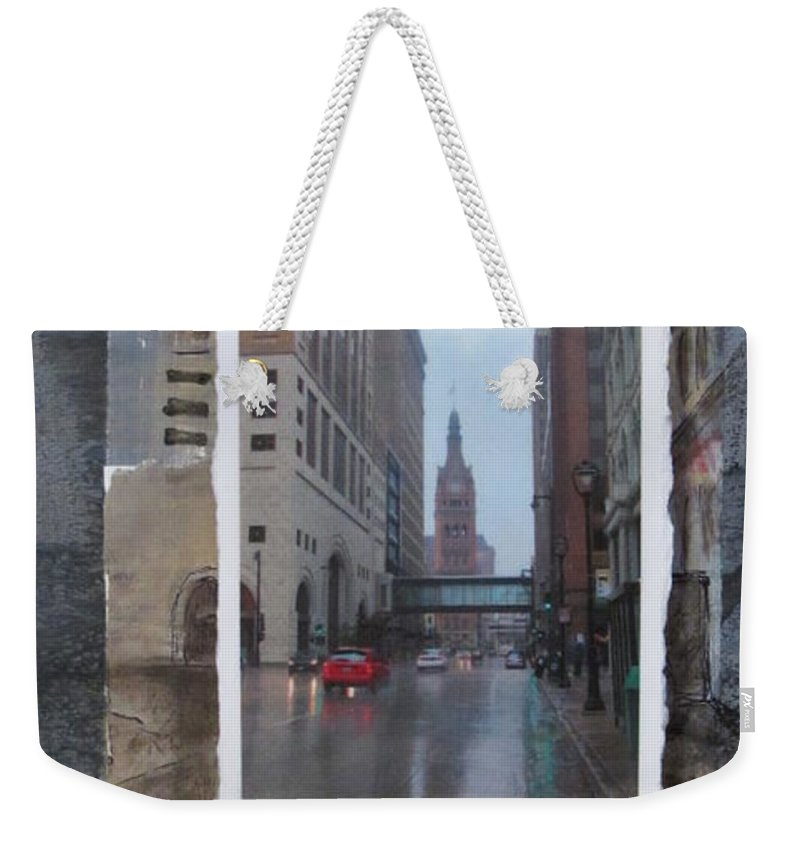 City Weekender Tote Bag featuring the mixed media Rain Water Street W City Hall by Anita Burgermeister