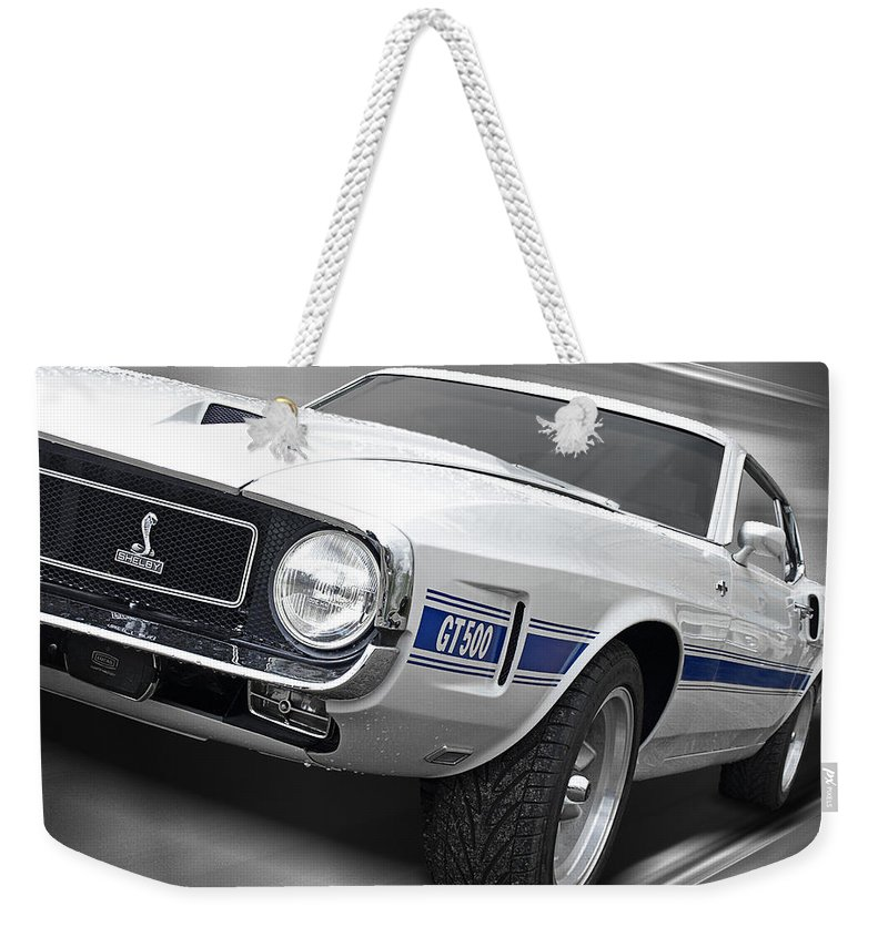 Shelby Mustang Weekender Tote Bag featuring the photograph Rain Won't Spoil My Fun - 1969 Shelby Gt500 Mustang by Gill Billington