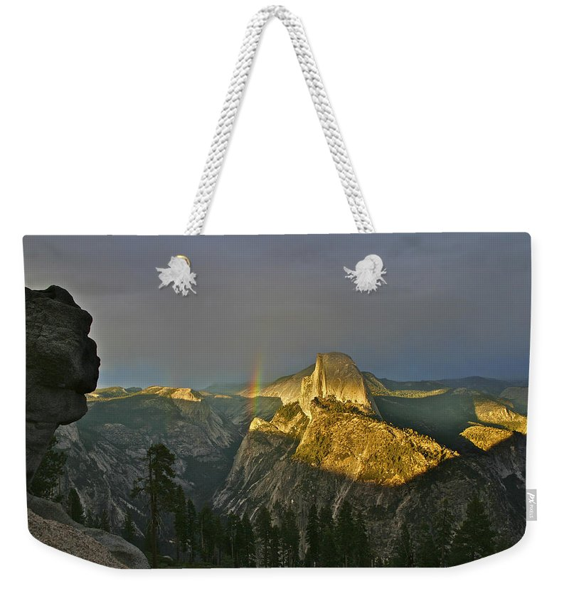 Half Dome Weekender Tote Bag featuring the photograph Rainbow And Half Dome 3 by SC Heffner
