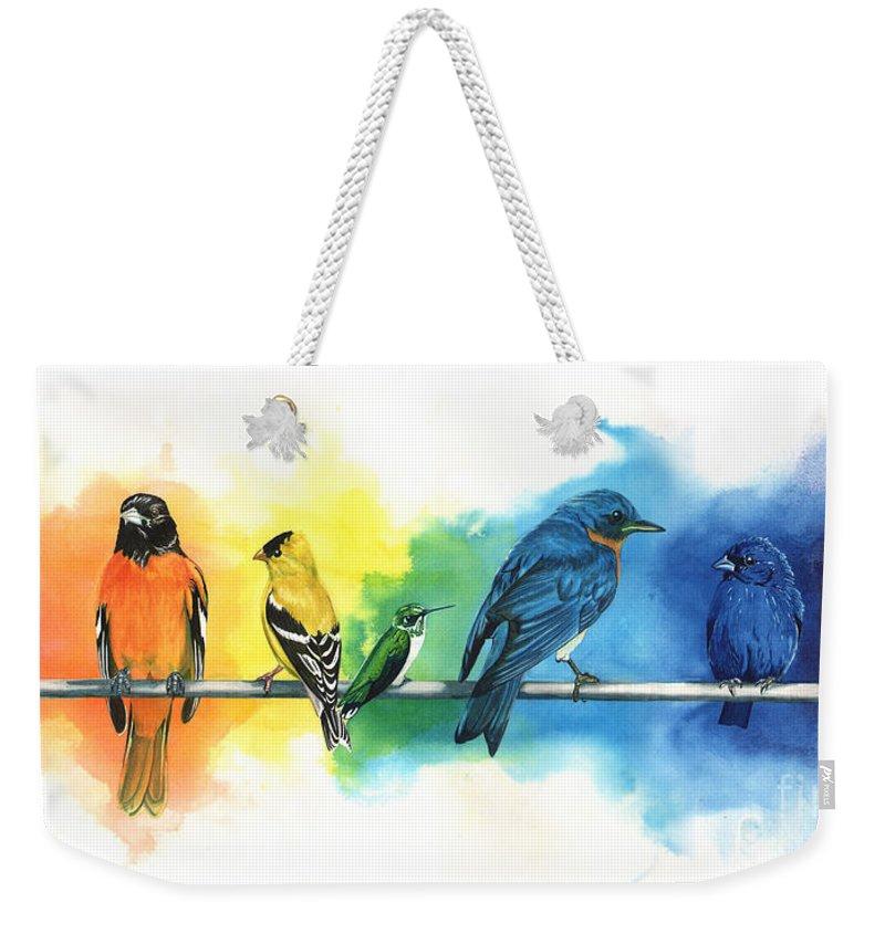 Colorful Bird Weekender Tote Bags