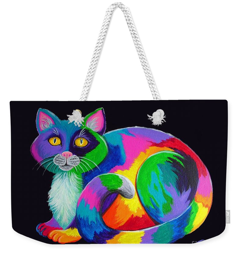 Art Weekender Tote Bag featuring the painting Rainbow Calico by Nick Gustafson