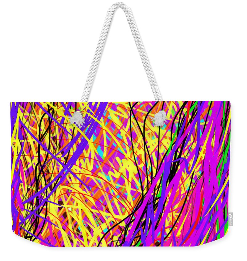 Daina Weekender Tote Bag featuring the painting Rainbow Divine Fire Light by Daina White