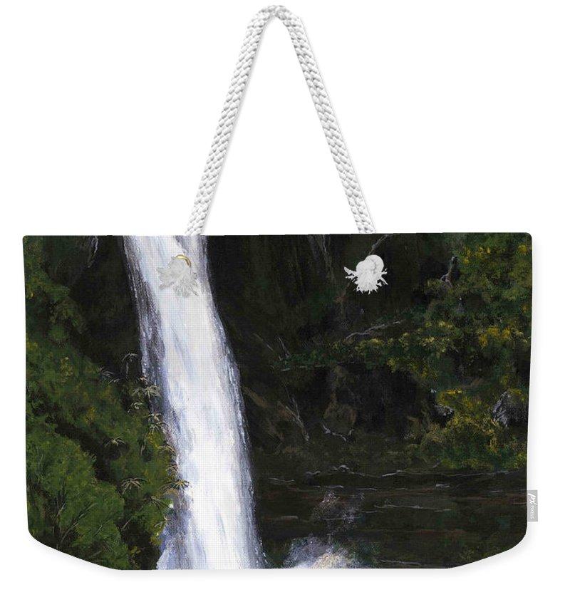 Waterfall Weekender Tote Bag featuring the painting Rainbow Falls Hilo Hawaii by Carlene Salazar