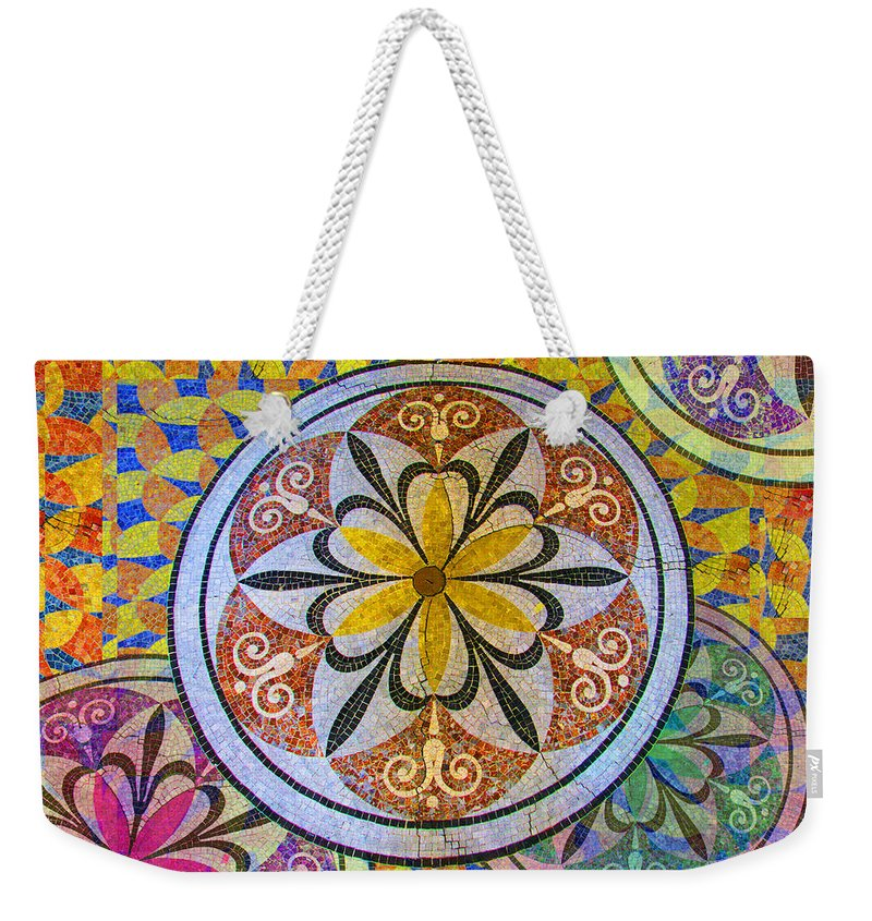Abstract Weekender Tote Bag featuring the painting Rainbow Mosaic Circles And Flowers by Tony Rubino