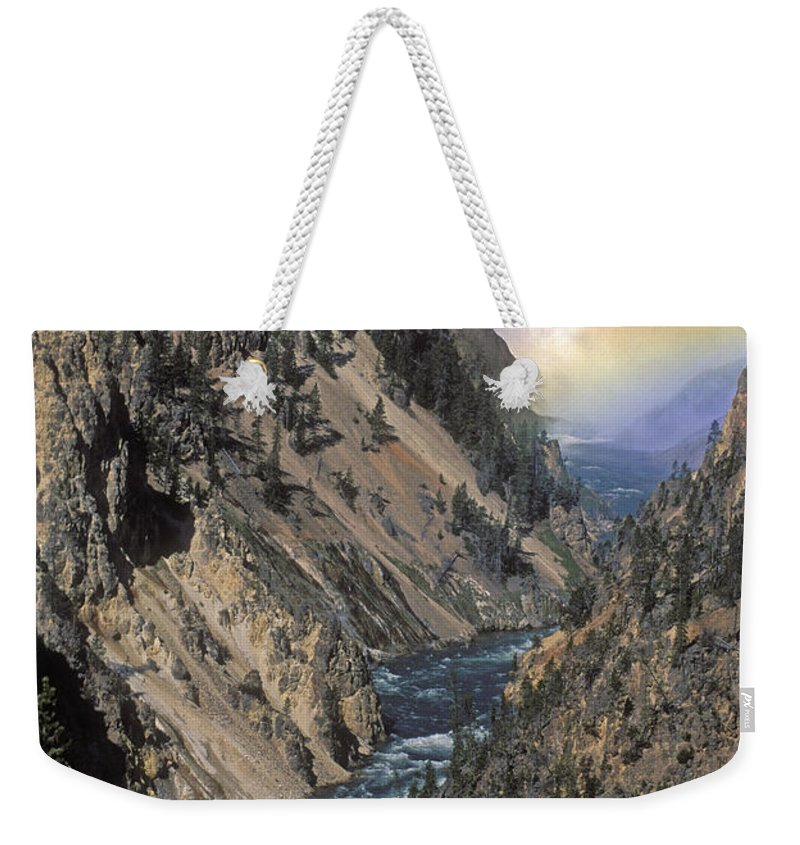 Yellowstone;waterfall; Weekender Tote Bag featuring the photograph Rainbow On The Lower Falls by Sandra Bronstein