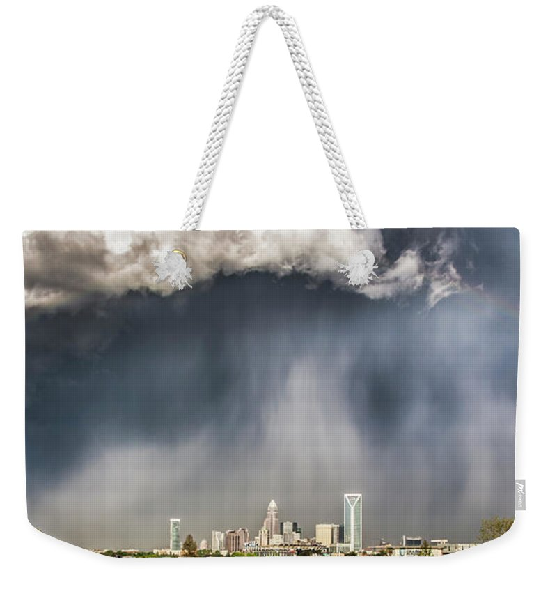 Rainbow Weekender Tote Bag featuring the photograph Rainbow Over Charlotte by Chris Austin