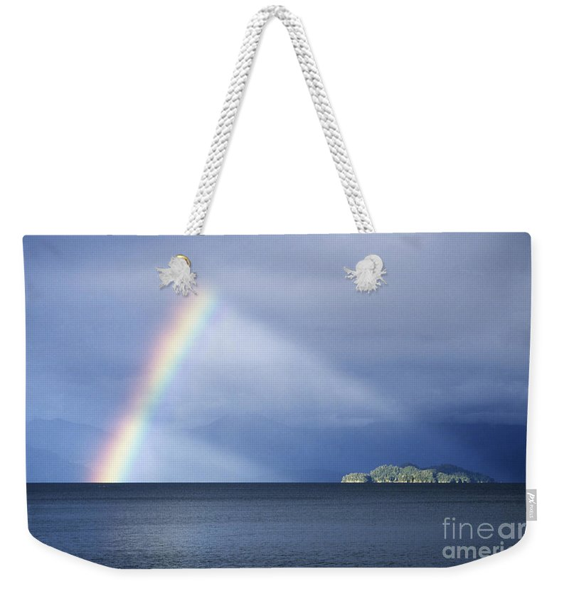 Rainbow Weekender Tote Bag featuring the photograph Rainbow Over Lake Todos Santos Chile by James Brunker