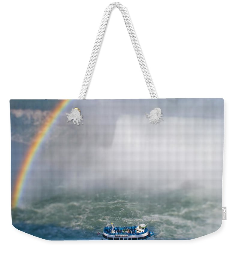 Rainbow Weekender Tote Bag featuring the photograph Rainbow Over Niagara. by Les Lorek