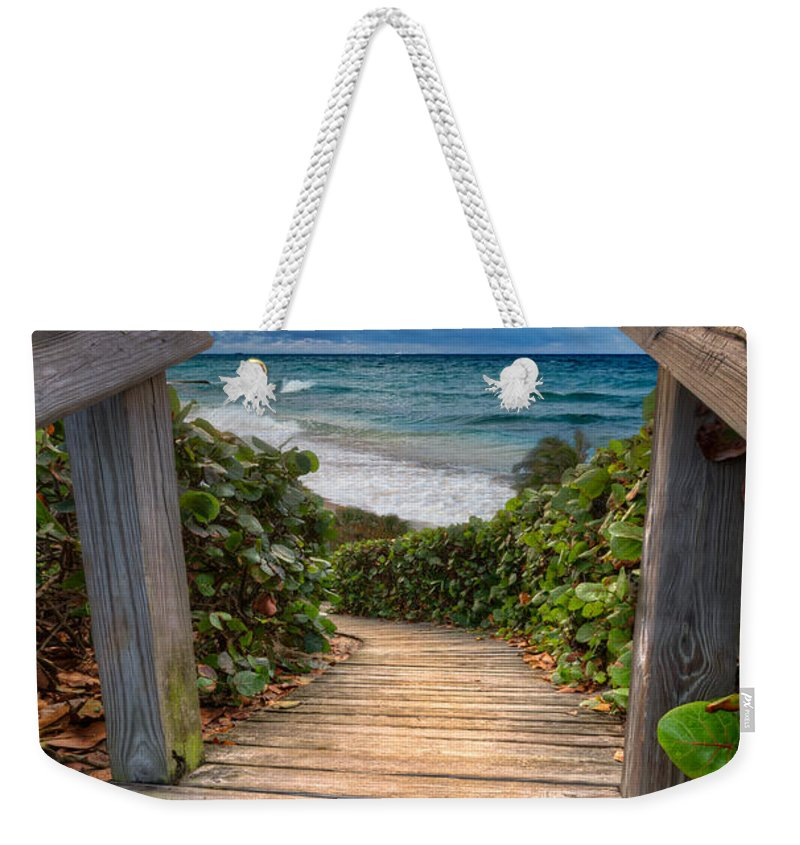 Clouds Weekender Tote Bag featuring the photograph Rainbow Over The Ocean by Debra and Dave Vanderlaan
