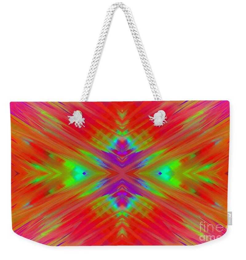 Andee Design Abstract Weekender Tote Bag featuring the digital art Rainbow Passion Abstract 1 by Andee Design