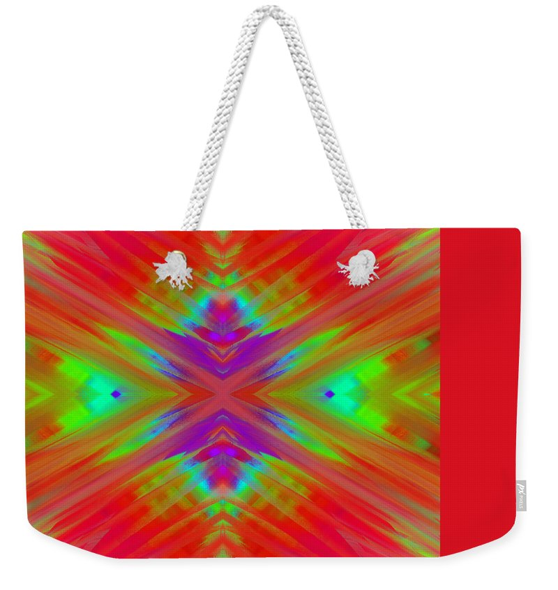 Andee Design Abstract Weekender Tote Bag featuring the digital art Rainbow Passion Abstract 2 by Andee Design