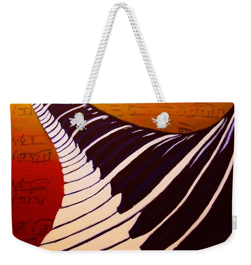 Rainbow Piano Weekender Tote Bag featuring the painting Rainbow Piano Keyboard Twist In Acrylic Paint With Sheet Music Notes In Blue Yellow Orange Red by M Zimmerman MendyZ