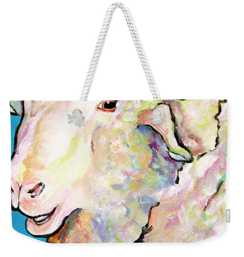 Pat Saunders-white Weekender Tote Bag featuring the painting Rainbow Ram by Pat Saunders-White