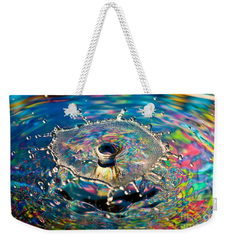 Drop Weekender Tote Bag featuring the photograph Rainbow Splash by Anthony Sacco