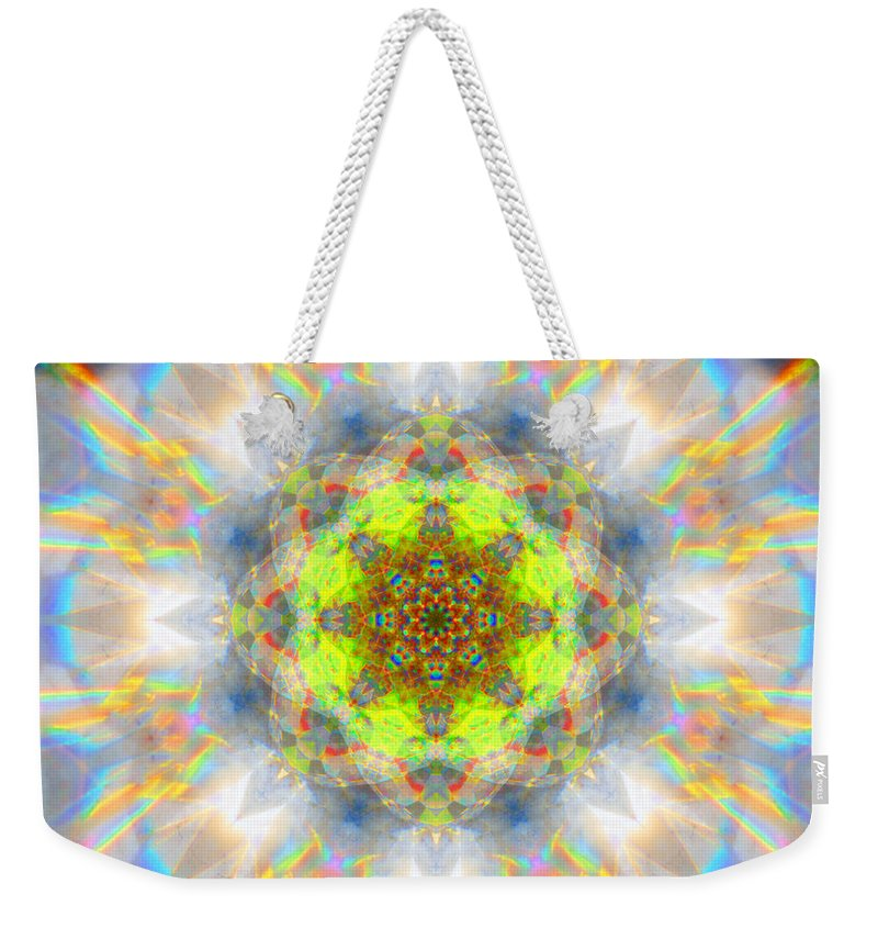 Rainbow Weekender Tote Bag featuring the photograph Rainbow Starburst Mandala by Susan Bloom