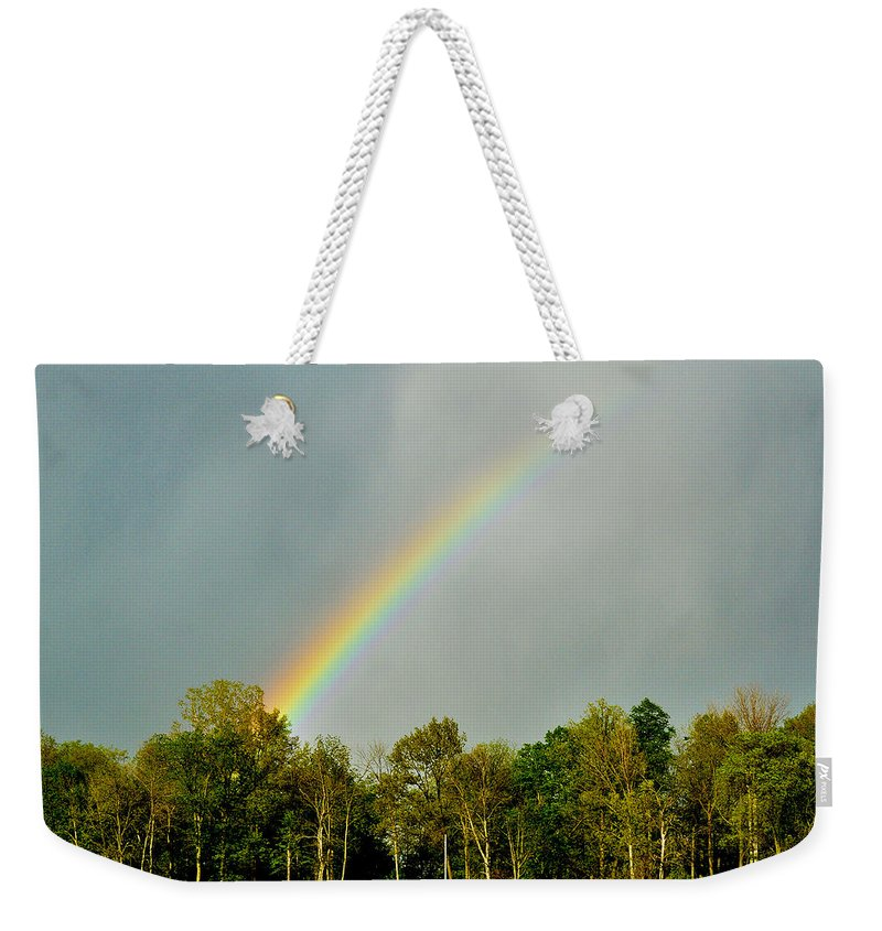 Rainbow Weekender Tote Bag featuring the photograph Rainbow To The Clouds by Verana Stark