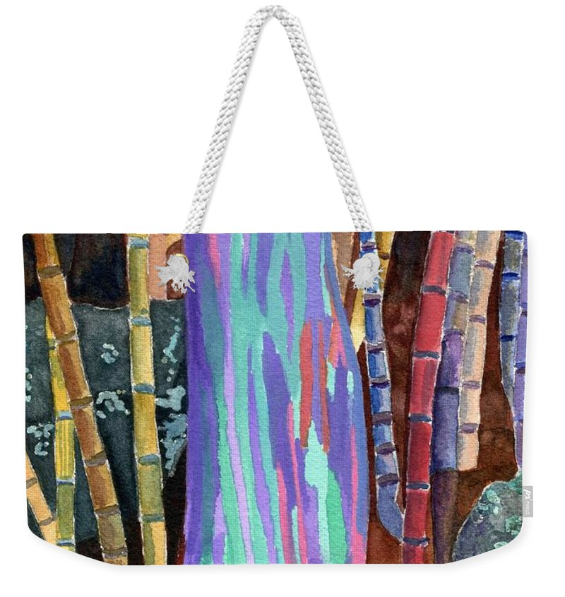 Rainbow Eucalyptus Weekender Tote Bag featuring the painting Rainbow Tree by Lynne Reichhart