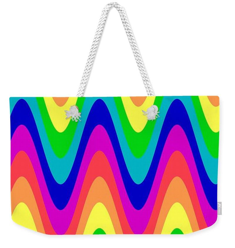 Red Weekender Tote Bag featuring the digital art Rainbow Waves by Sharon Woerner