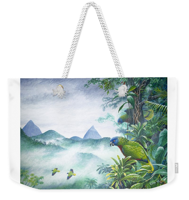Chris Cox Weekender Tote Bag featuring the painting Rainforest Realm - St. Lucia Parrots by Christopher Cox