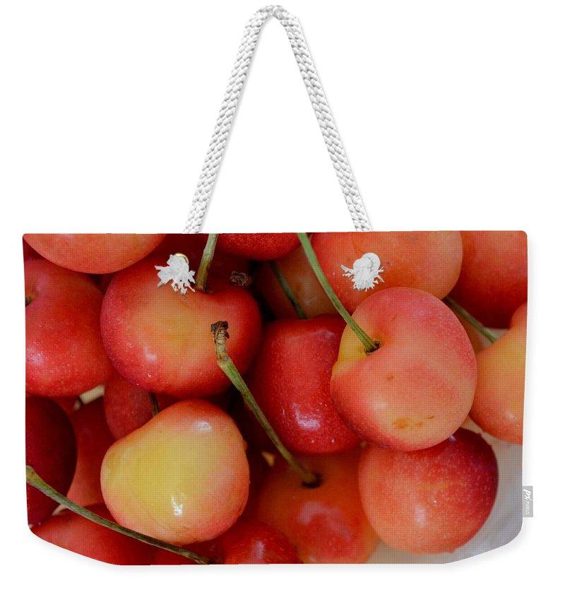 Rainier Cherries Weekender Tote Bag featuring the photograph Rainier Cherries by Mary Deal