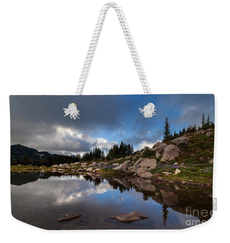 Rainier Weekender Tote Bag featuring the photograph Rainier Spray Park Reflection by Mike Reid