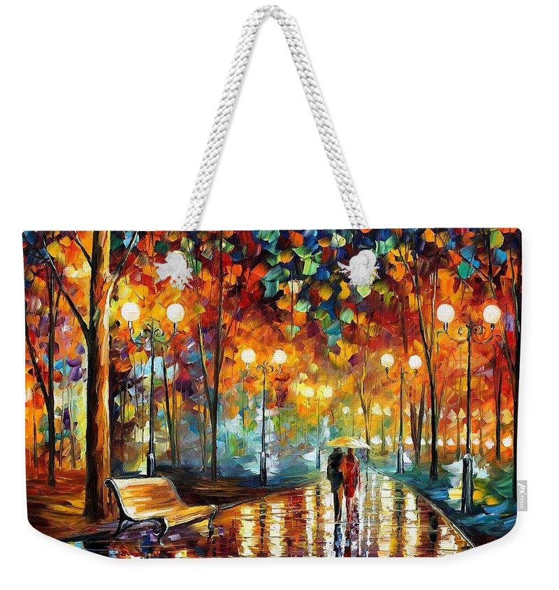 Leonid Afremov Weekender Tote Bag featuring the painting Rain's Rustle 2 - PALETTE KNIFE Oil Painting On Canvas By Leonid Afremov by Leonid Afremov