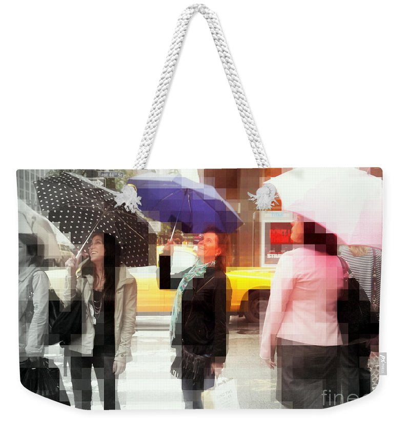 Fun Weekender Tote Bag featuring the photograph Rainy Day In The City - Blue Pink And Polka Dots by Miriam Danar