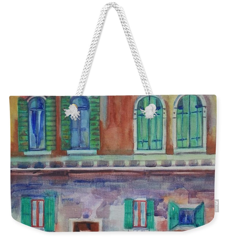 Rain Weekender Tote Bag featuring the painting Rainy Day In Venice Italy by Anna Ruzsan