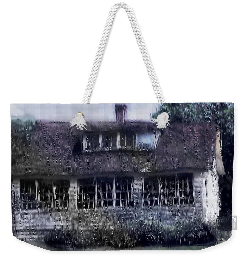 House Weekender Tote Bag featuring the painting Rainy Day Long Ago House by RC deWinter