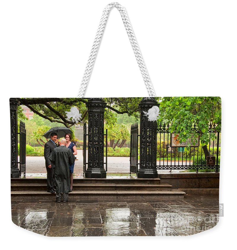 Wedding Weekender Tote Bag featuring the photograph Rainy Destination Wedding In Jackson Square New Orleans by Kathleen K Parker