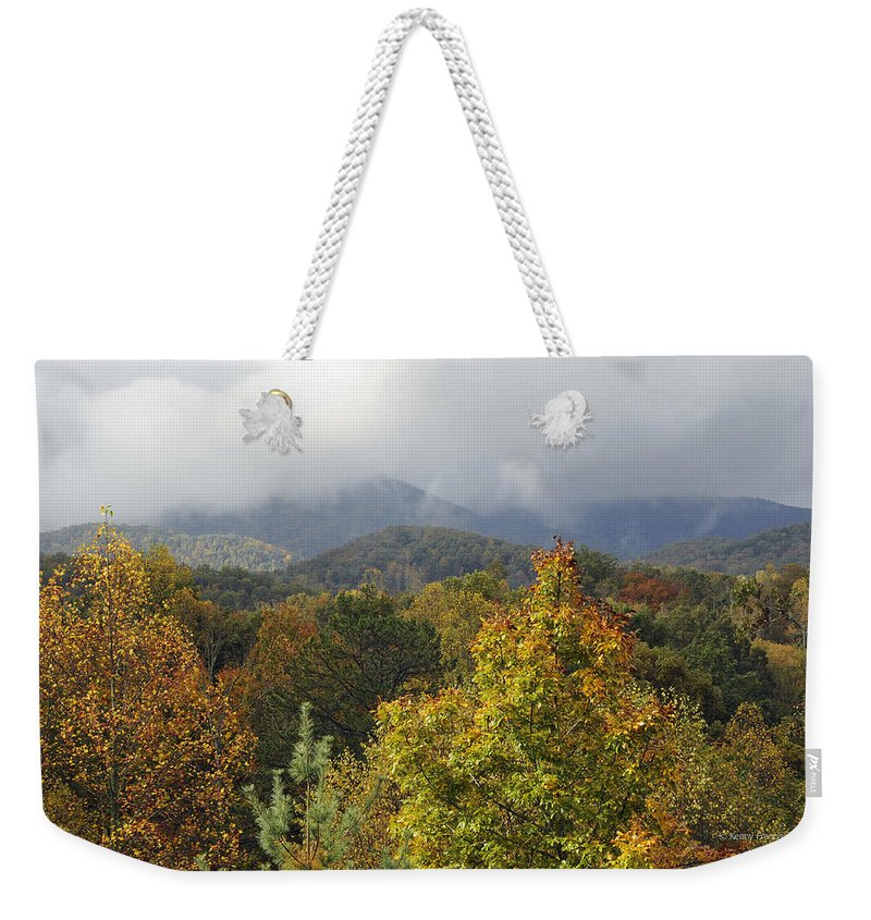 Kenny Francis Weekender Tote Bag featuring the photograph Rainy Fall Day In The Mountains by Kenny Francis
