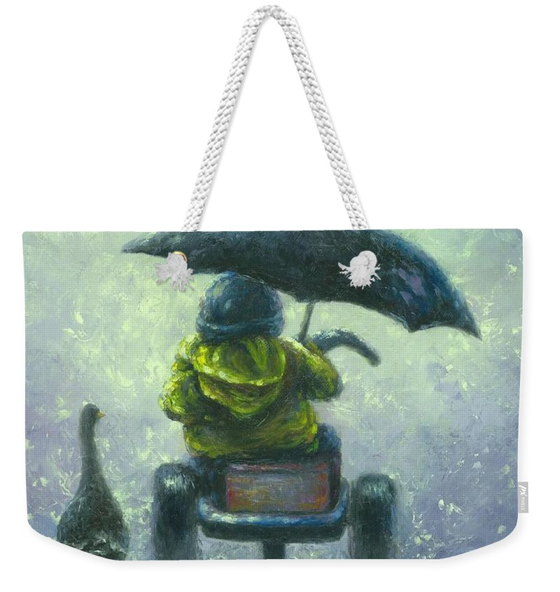 Little Boy Weekender Tote Bag featuring the painting Rainy Ride by Vickie Wade