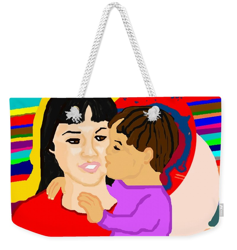 Family Weekender Tote Bag featuring the painting Raising Son by Pharris Art