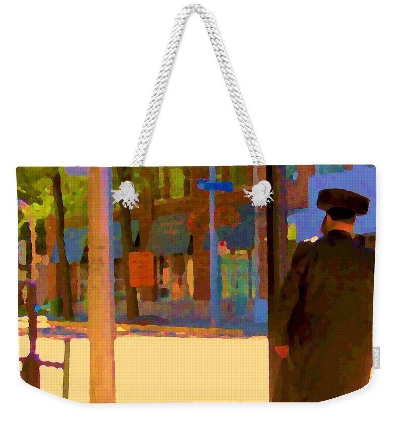 Montreal Weekender Tote Bag featuring the painting Ramacieri Soligo Building Supplies Rue Van Horne Outremont Montreal Street Scene Art Carole Spandau by Carole Spandau