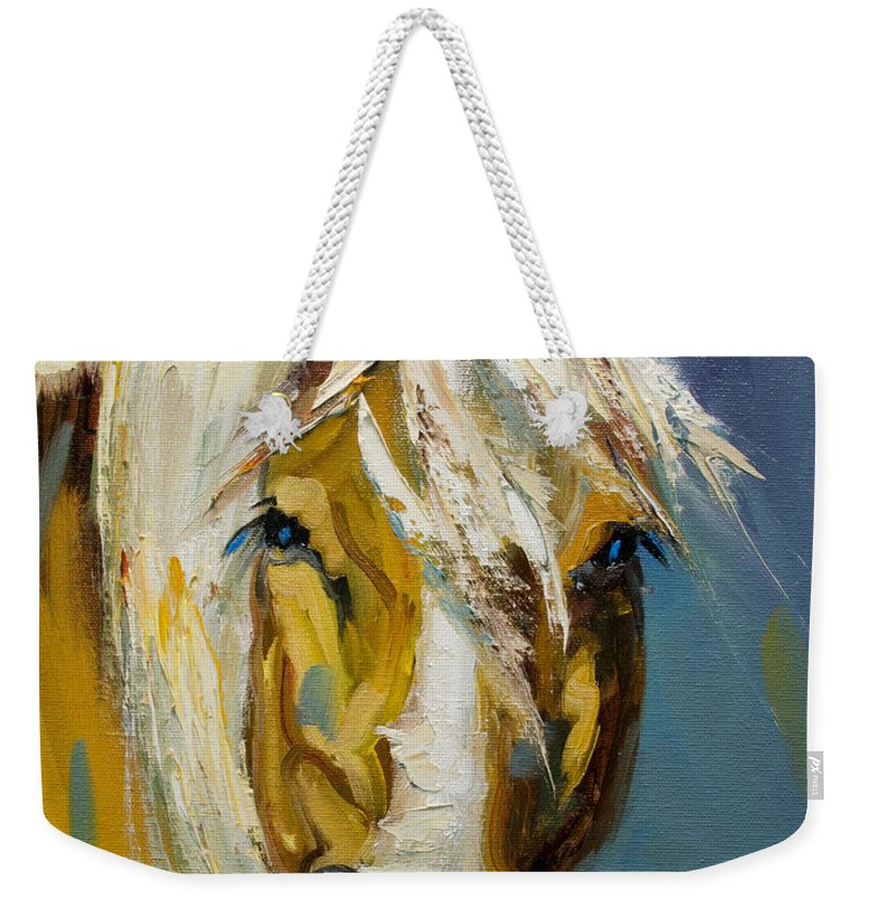 Horse Weekender Tote Bag featuring the painting Ranch Horse by Diane Whitehead