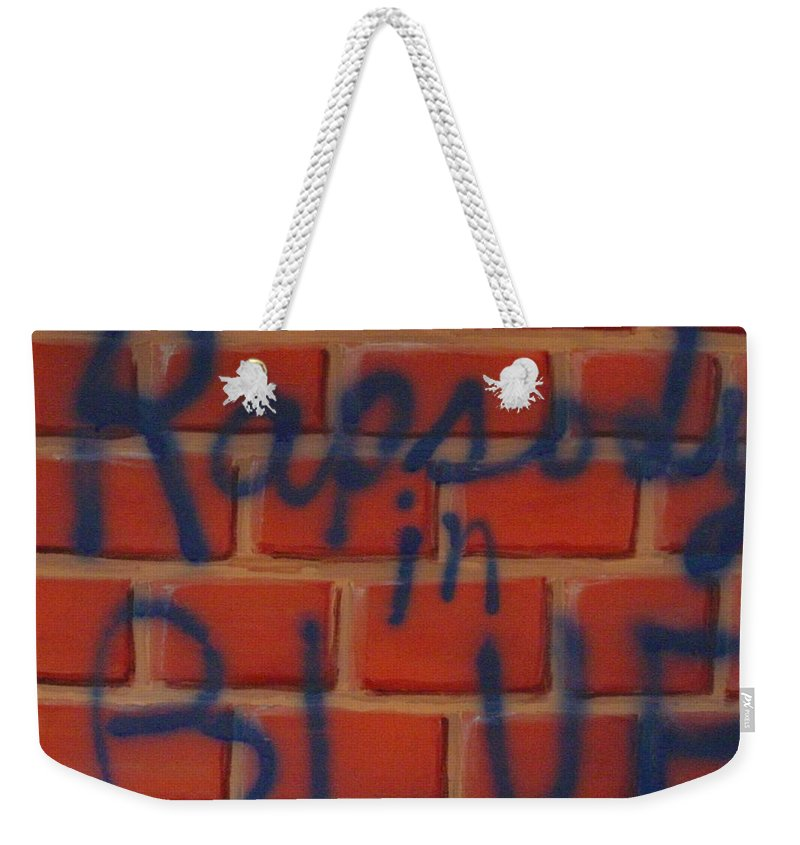 Abstract Weekender Tote Bag featuring the painting Rapsody In Blue by Laurie Morgan