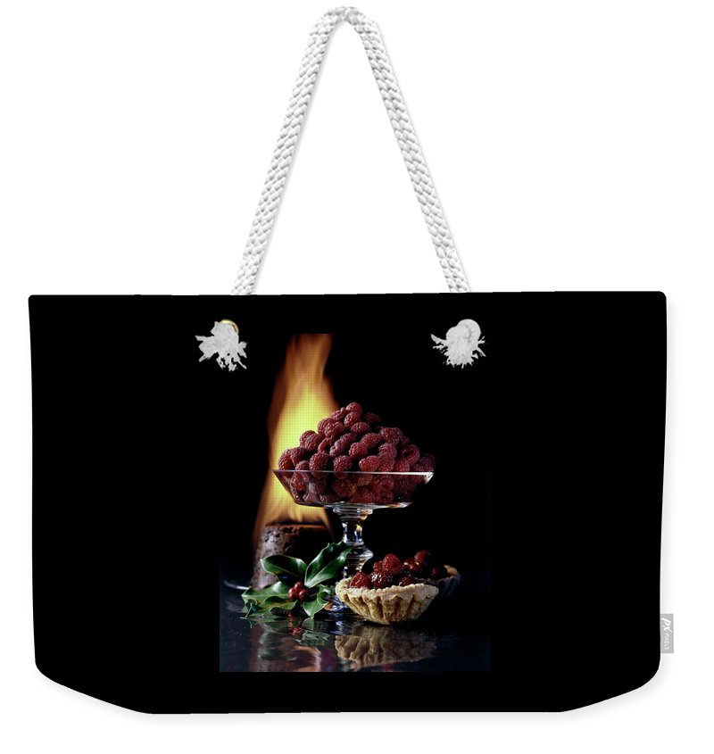 Raspberries In A Glass Serving Dish With Tarts Weekender Tote Bag