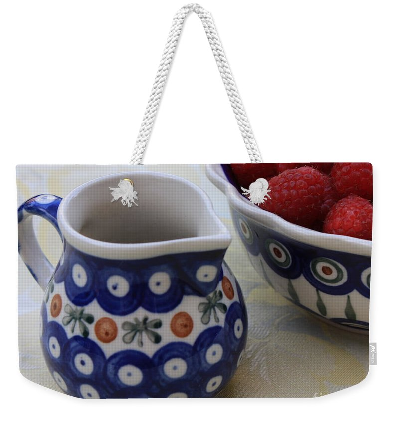 Raspberries Weekender Tote Bag featuring the photograph Raspberries With Cream by Carol Groenen
