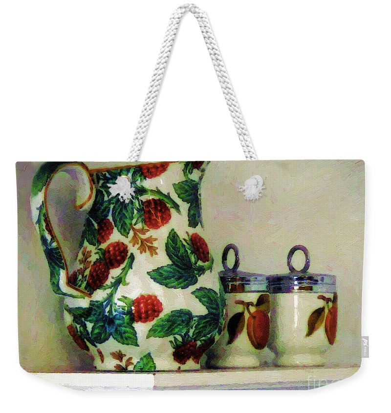 Pitcher Weekender Tote Bag featuring the painting Raspberry Pitcher by RC DeWinter