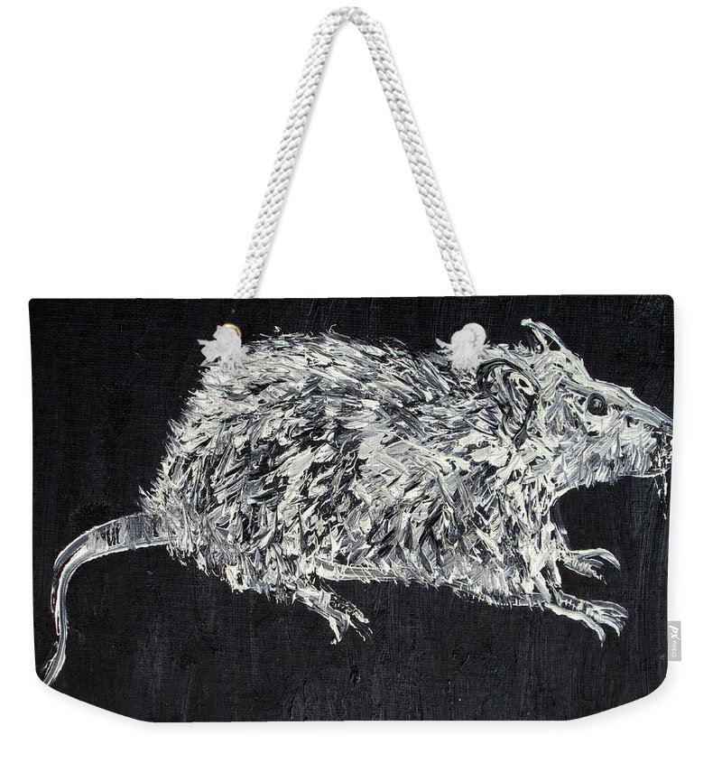 Rat Weekender Tote Bag featuring the painting Rat - Oil Portrait by Fabrizio Cassetta