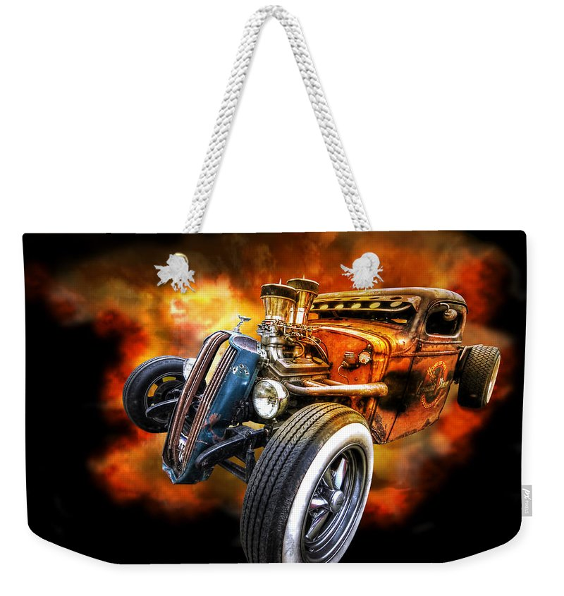 Hotrod Weekender Tote Bag featuring the photograph Rat Rod Explosion by Gill Billington