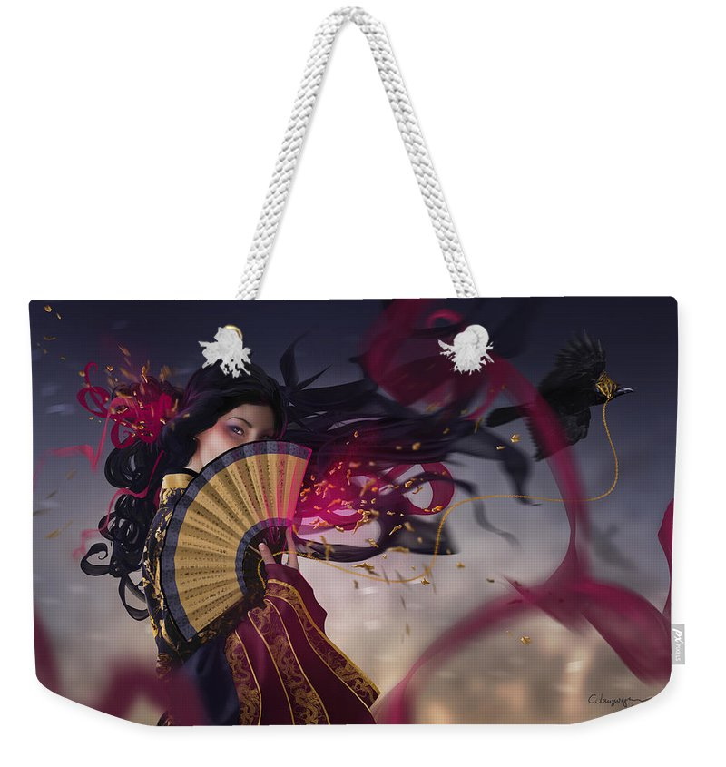 Fantasy Weekender Tote Bag featuring the digital art Raven by Cassiopeia Art