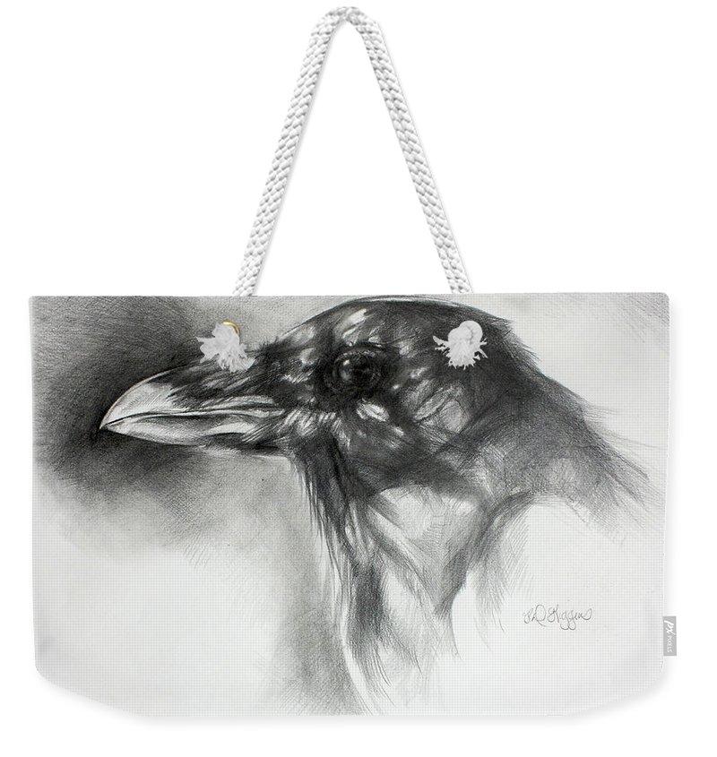Raven Weekender Tote Bag featuring the drawing Raven Head by Derrick Higgins